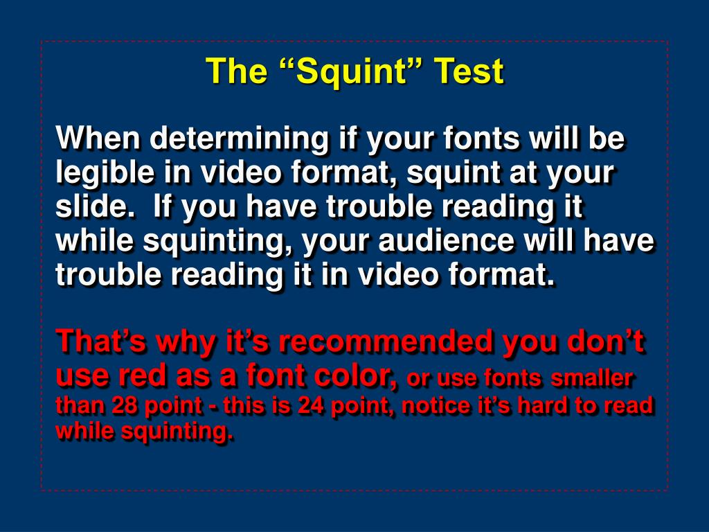 """The """"Squint"""" Test"""