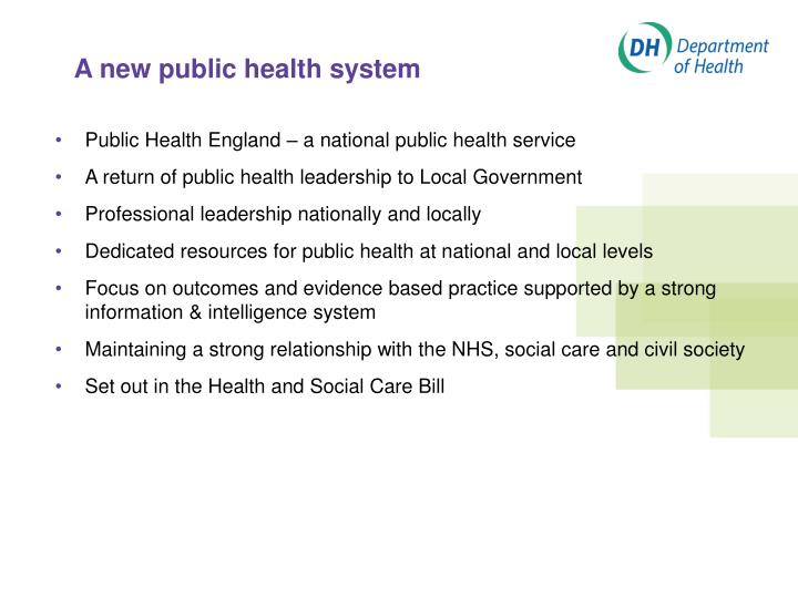 A new public health system