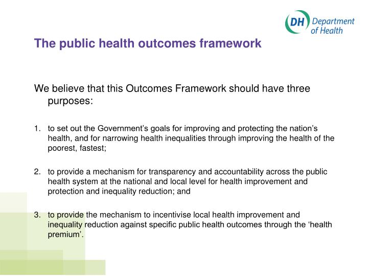 The public health outcomes framework