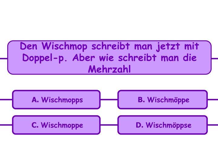 Den Wischmop schreibt man jetzt mit Doppel-p. Aber wie schreibt man die Mehrzahl