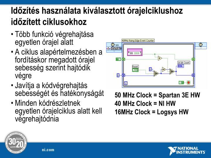 Időzítés használata kiválasztott órajelciklushoz időzített ciklusokhoz