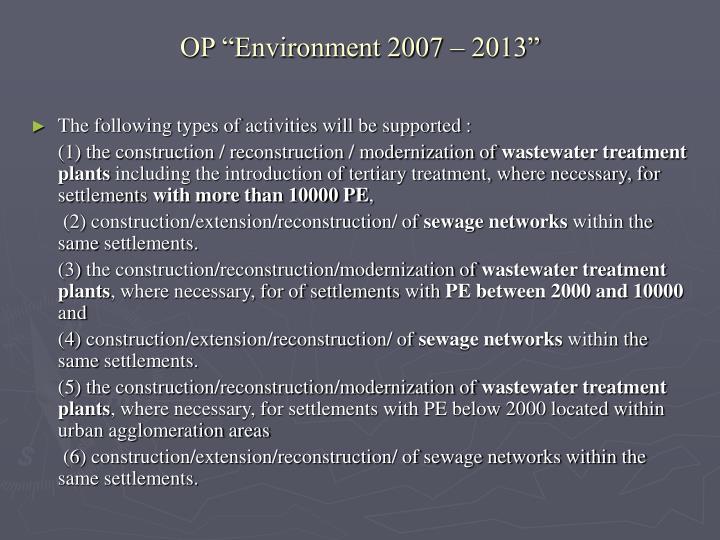 """OP """"Environment 2007 – 2013"""""""