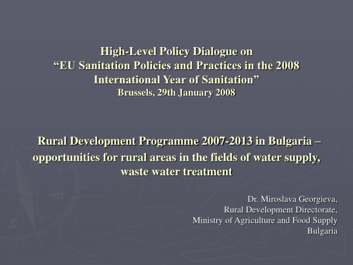 High-Level Policy Dialogue on