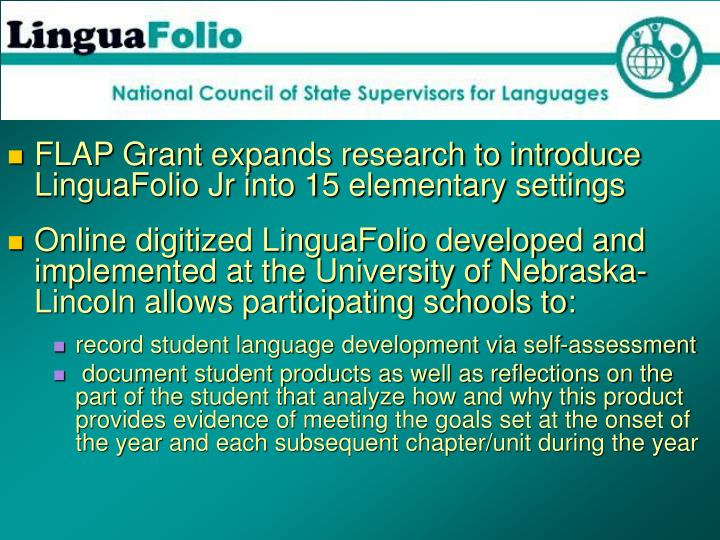 FLAP Grant expands research to introduce LinguaFolio Jr into 15 elementary settings