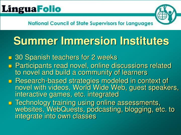 Summer Immersion Institutes