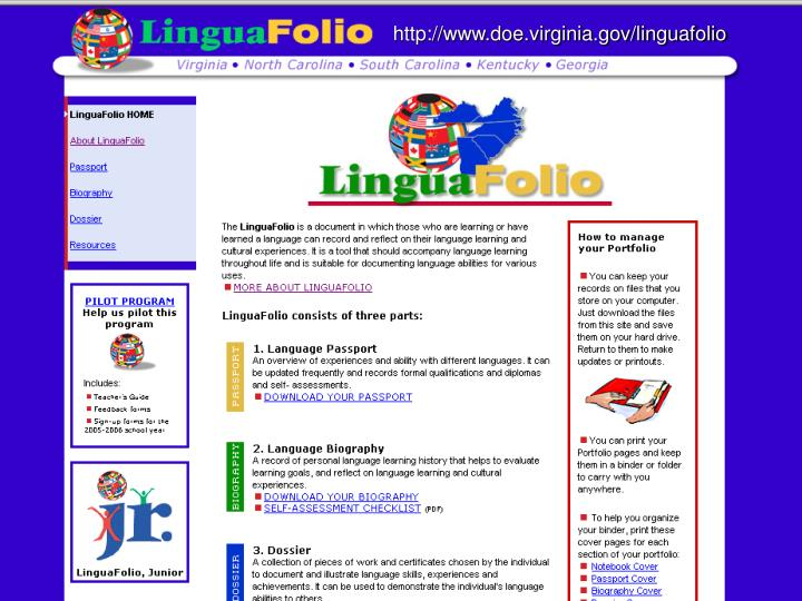 http://www.doe.virginia.gov/linguafolio