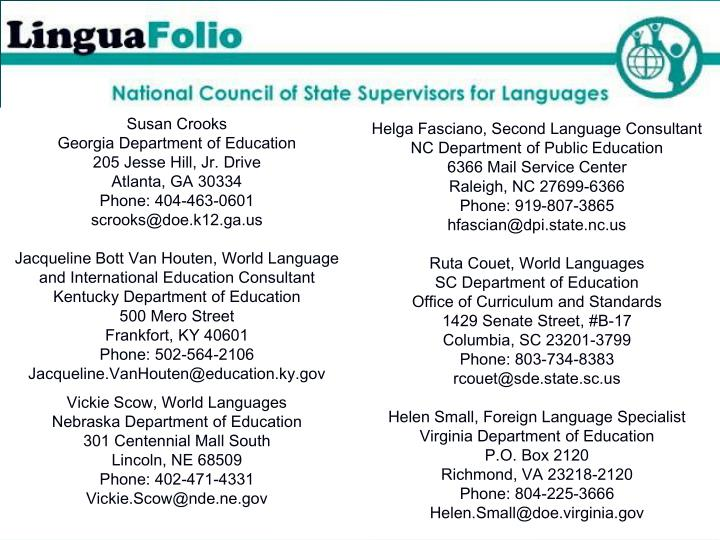 Helga Fasciano, Second Language Consultant