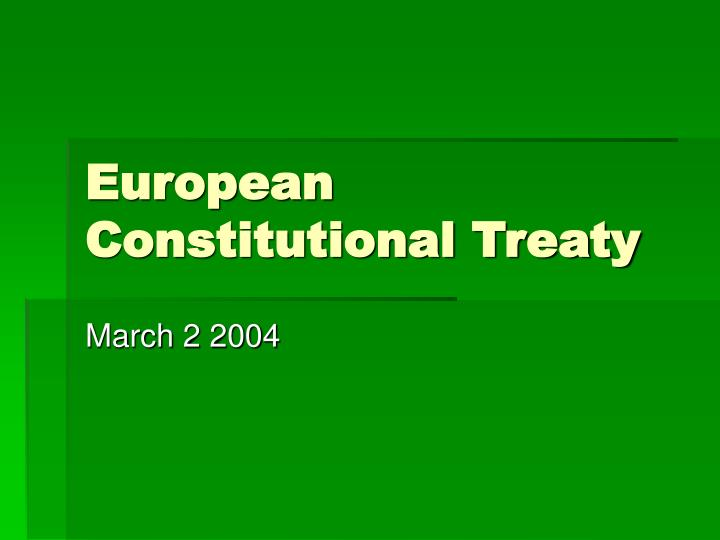 European Constitutional Treaty