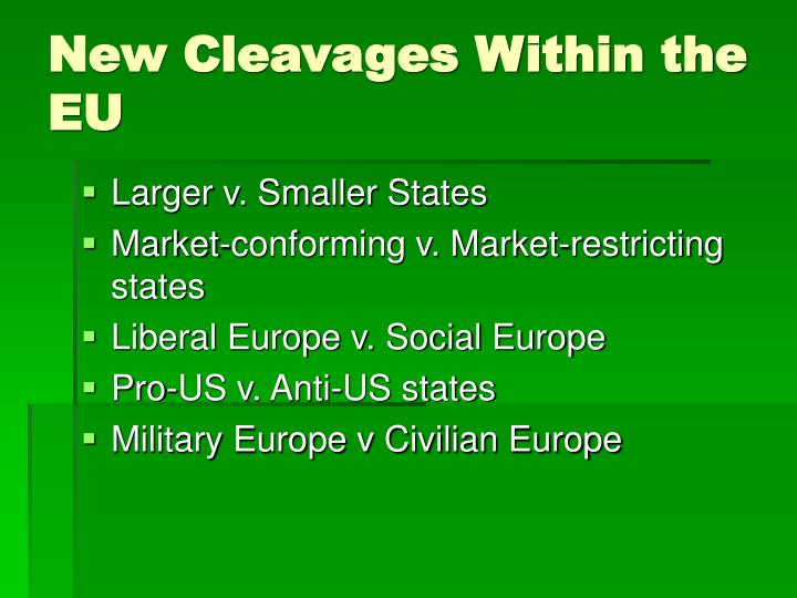 New Cleavages Within the EU