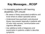 key messages rcgp
