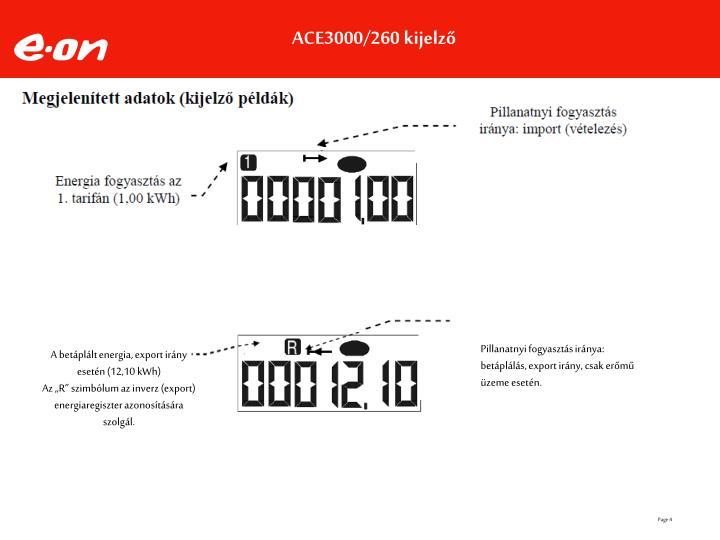 ACE3000/260 kijelző