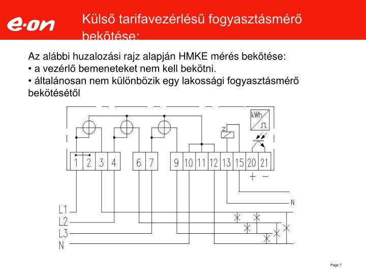 Külső tarifavezérlésű fogyasztásmérő bekötése: