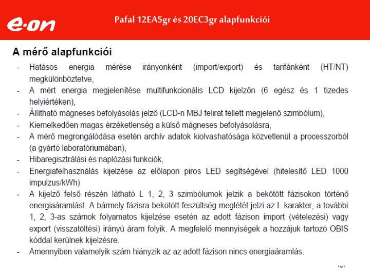 Pafal 12EA5gr és 20EC3gr alapfunkciói