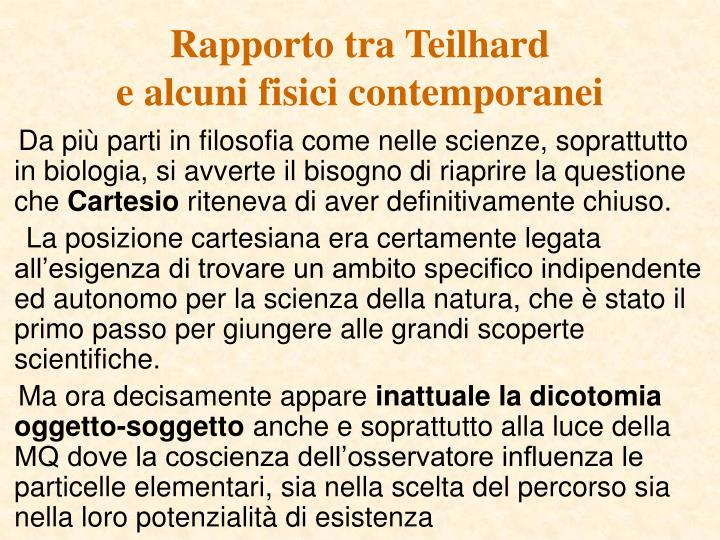 Rapporto tra Teilhard