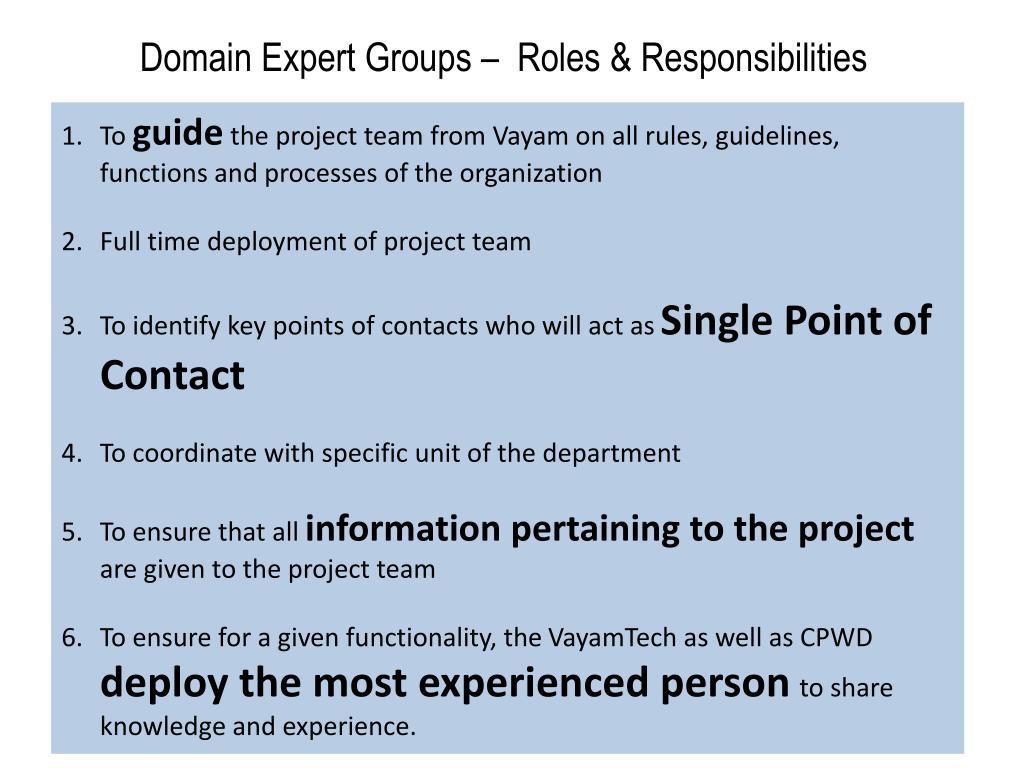 Domain Expert Groups –  Roles & Responsibilities
