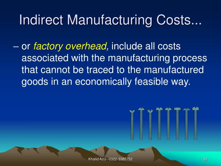 Indirect Manufacturing Costs...