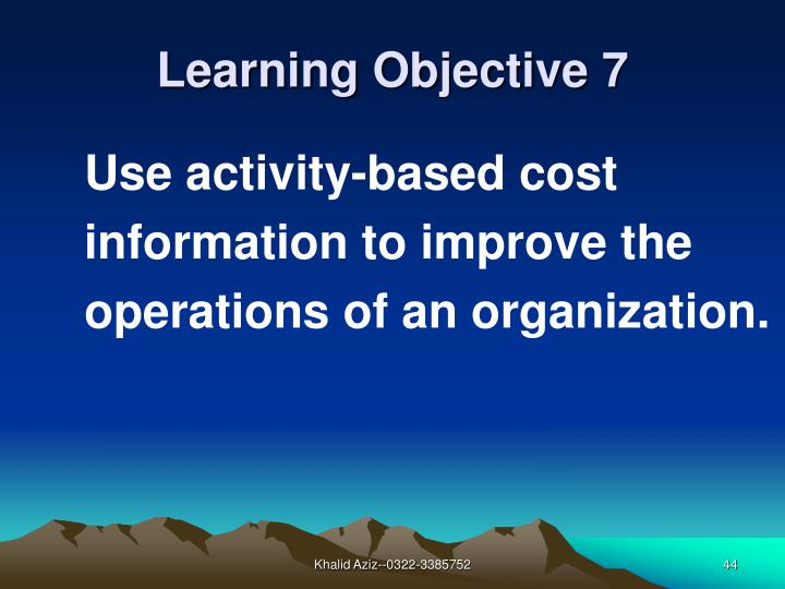 Use activity-based cost