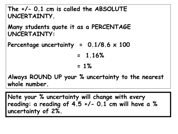 The +/- 0.1 cm is called the ABSOLUTE UNCERTAINTY.