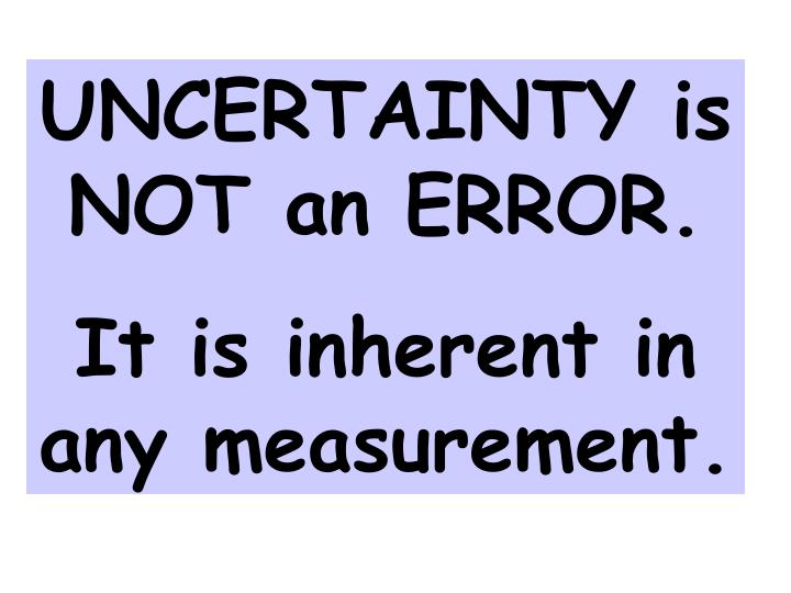 UNCERTAINTY is NOT an ERROR.
