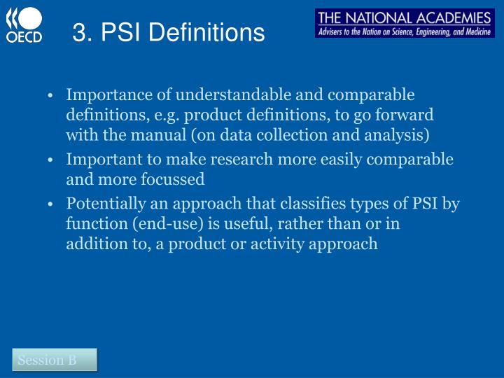 3. PSI Definitions
