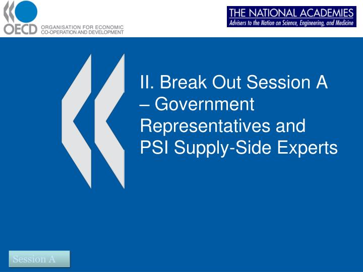 II. Break Out Session A – Government Representatives and PSI Supply-Side Experts
