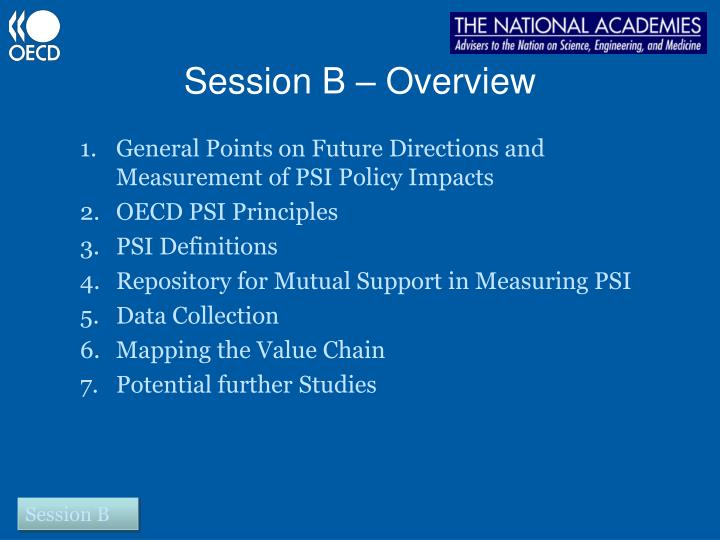 Session B – Overview