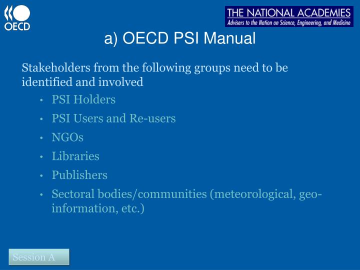 a) OECD PSI Manual