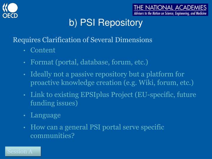 b) PSI Repository