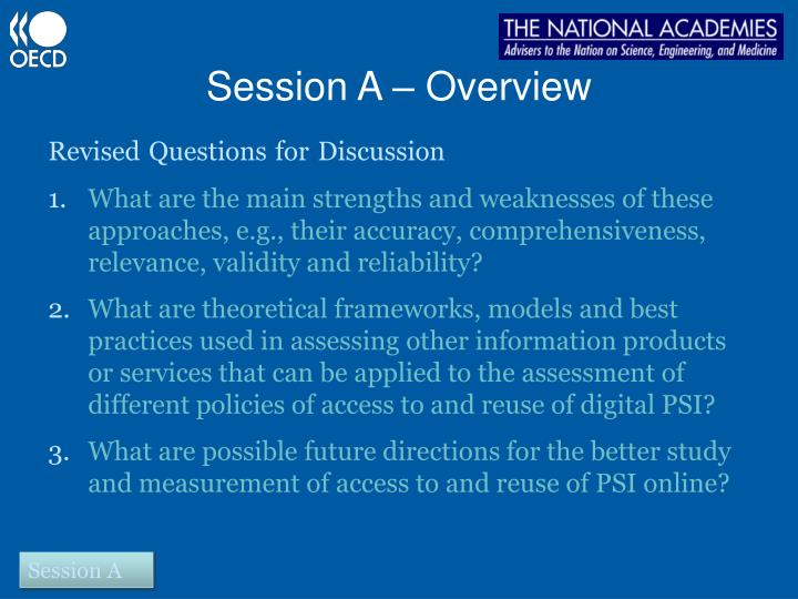 Session A – Overview