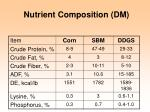 nutrient composition dm