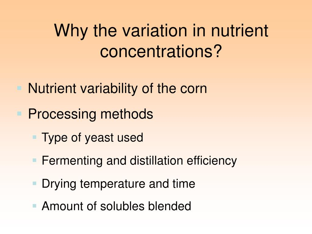 Why the variation in nutrient concentrations?