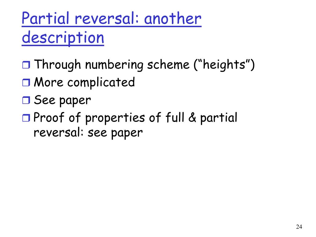 Partial reversal: another description