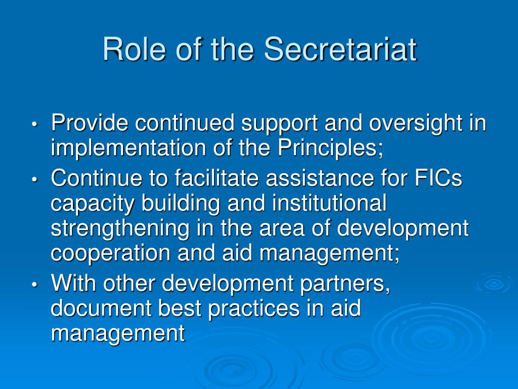 Role of the Secretariat