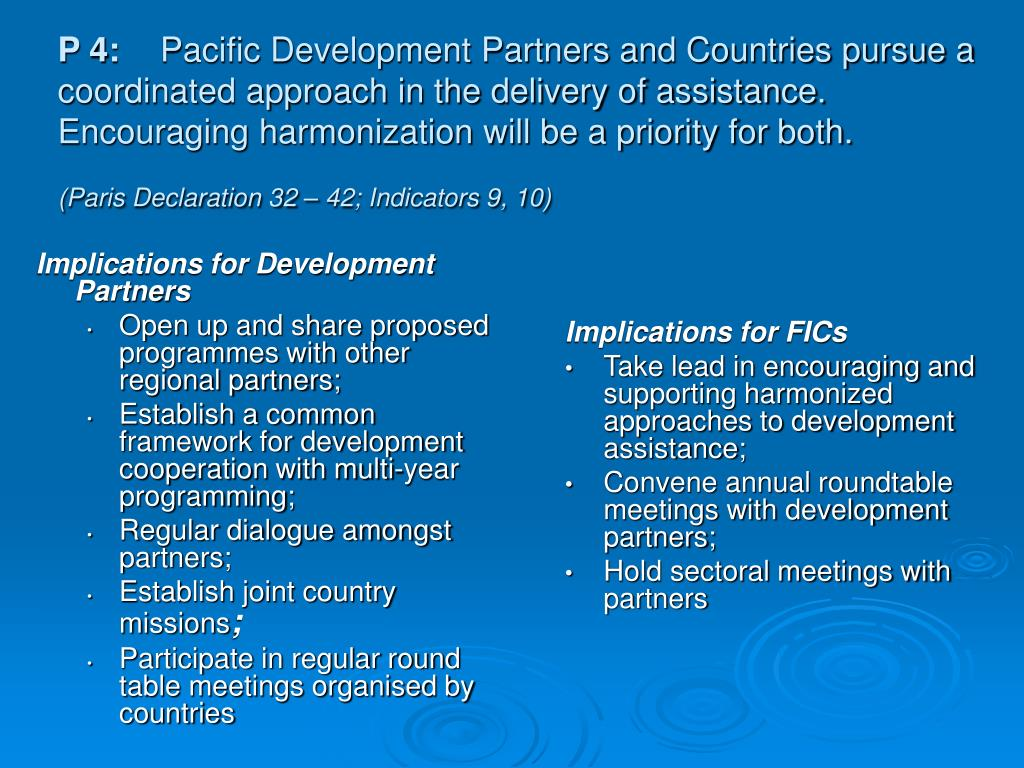 Implications for Development Partners