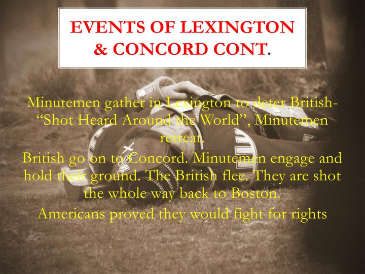 Events of Lexington & Concord Cont