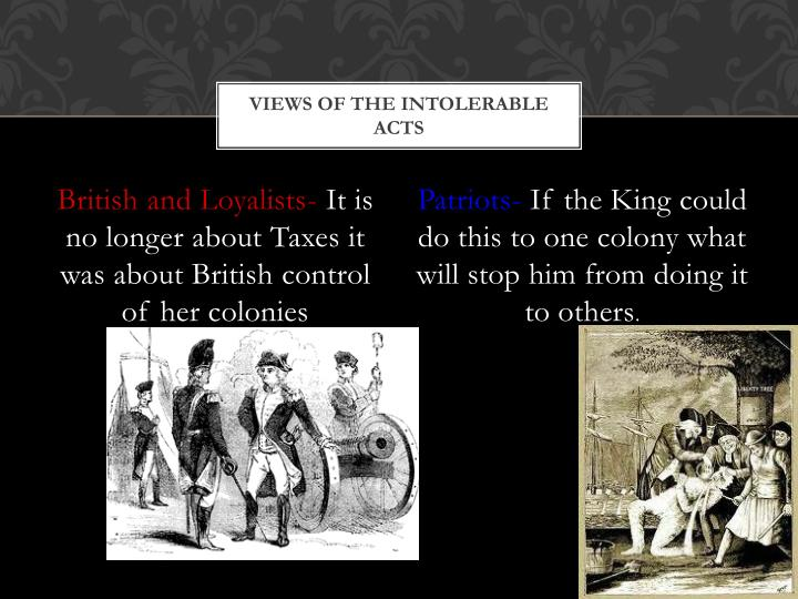 Views of the Intolerable Acts