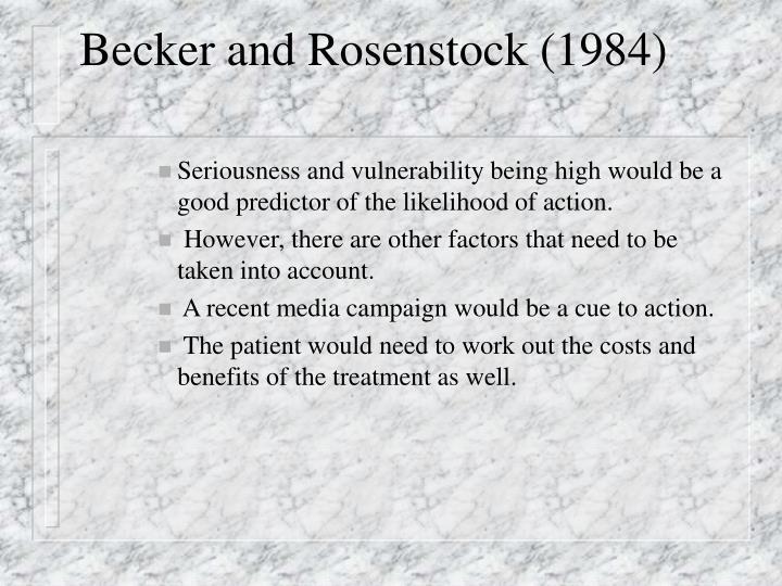 Becker and Rosenstock (1984)
