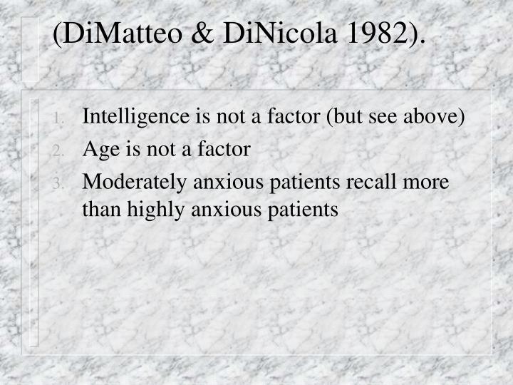 (DiMatteo & DiNicola 1982).