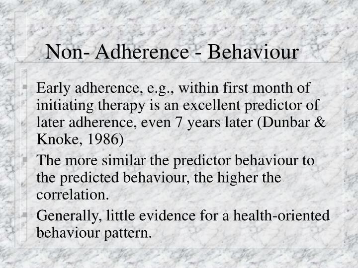 Non- Adherence - Behaviour