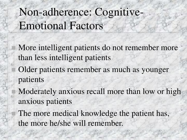 Non-adherence: Cognitive-Emotional Factors