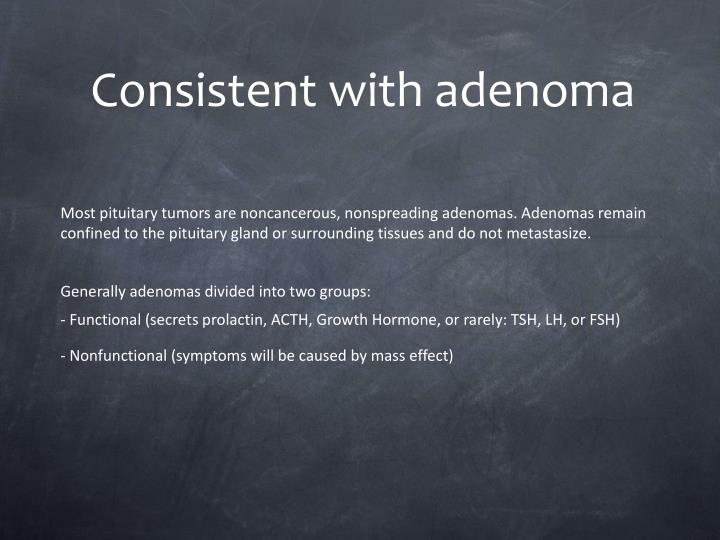 Consistent with adenoma