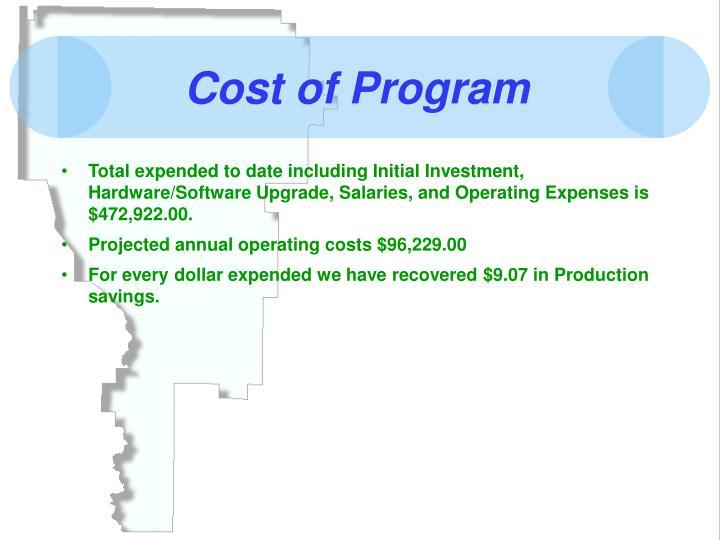 Cost of Program