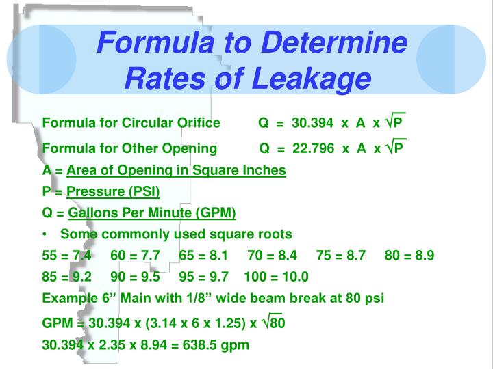 Formula to Determine Rates of Leakage