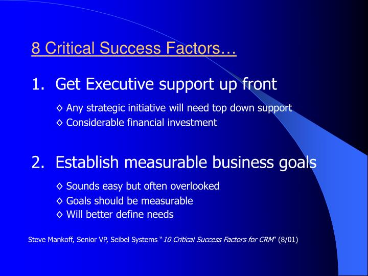 8 Critical Success Factors…