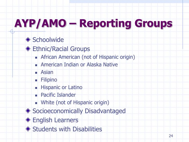 AYP/AMO – Reporting Groups
