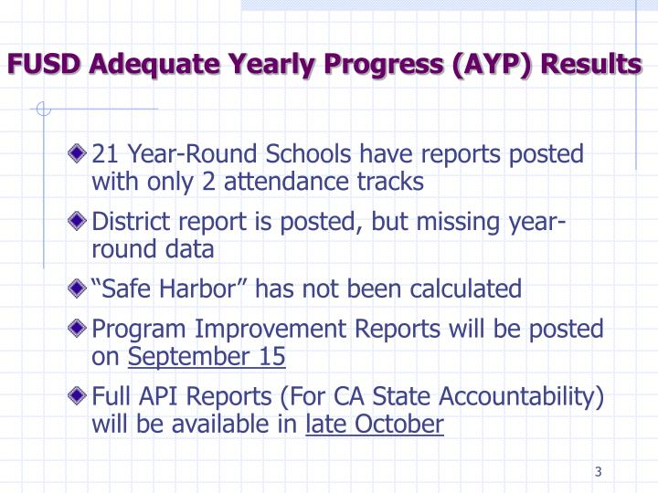 FUSD Adequate Yearly Progress (AYP) Results