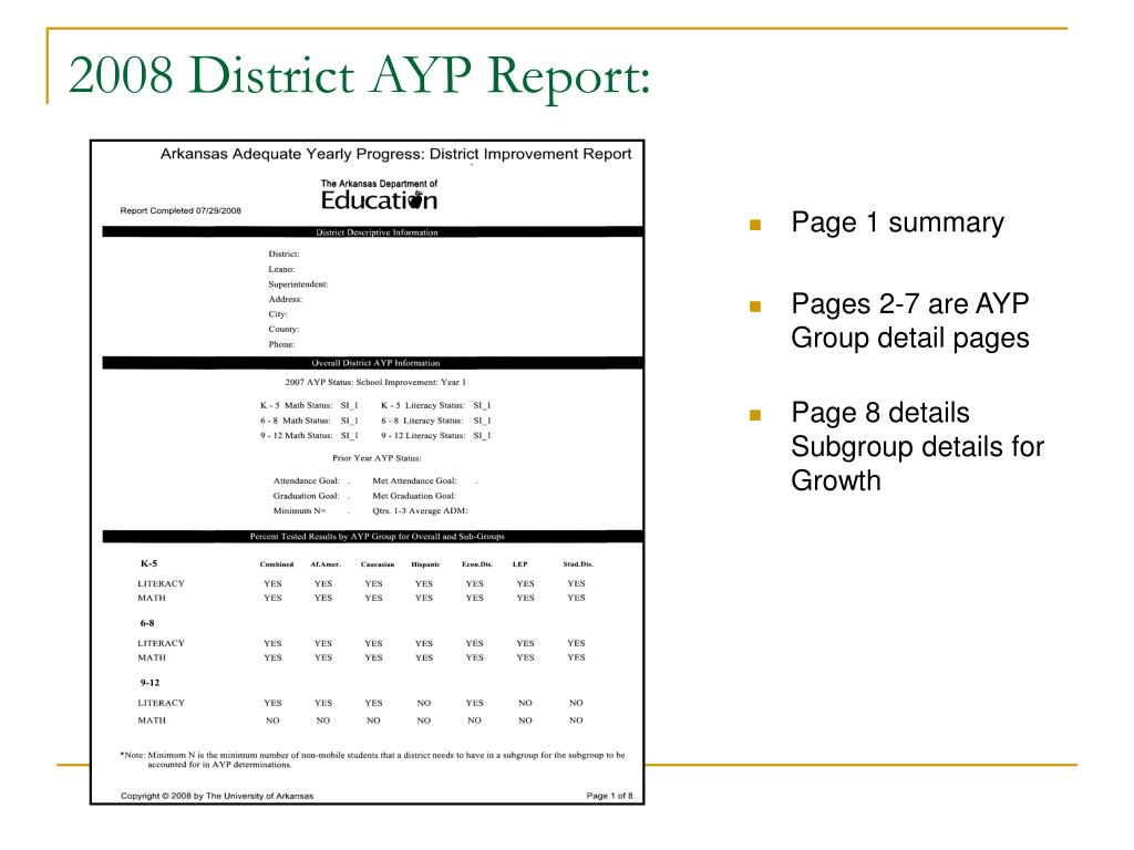 2008 District AYP Report: