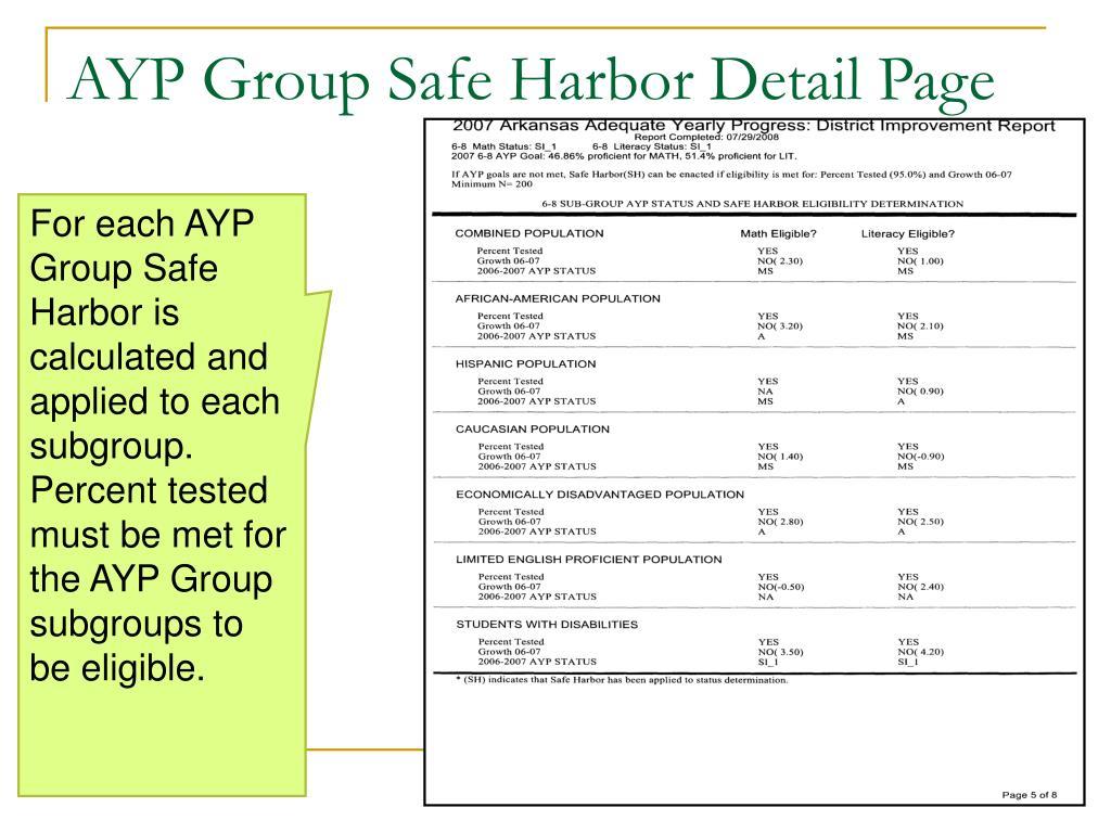 AYP Group Safe Harbor Detail Page