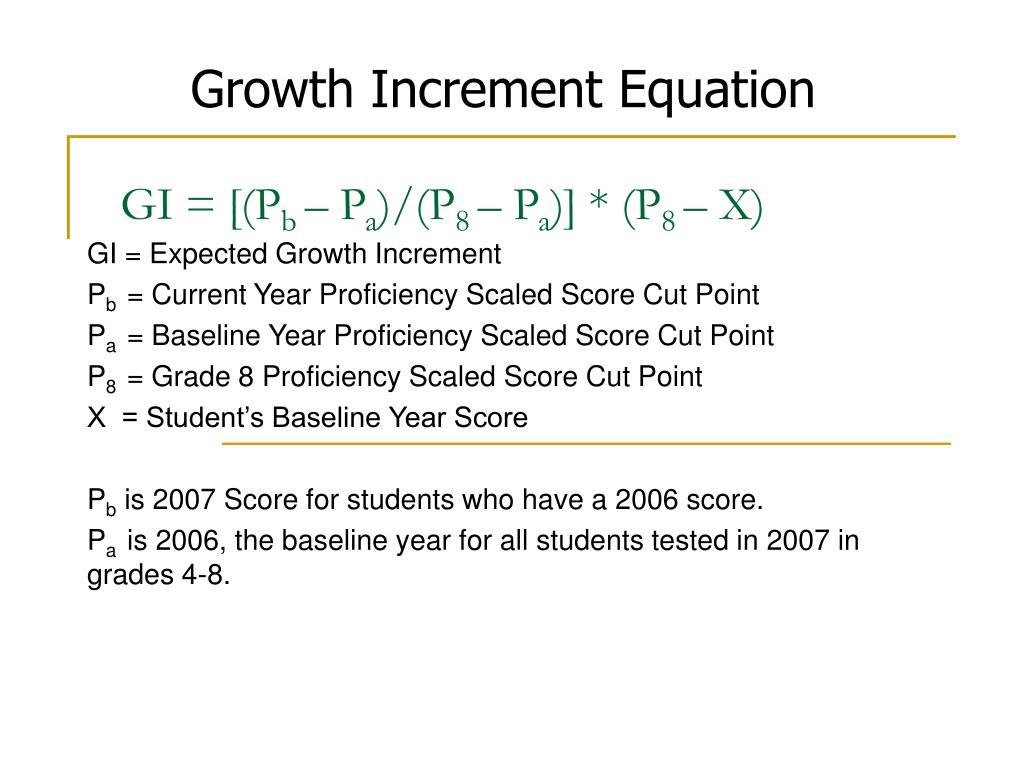 Growth Increment Equation