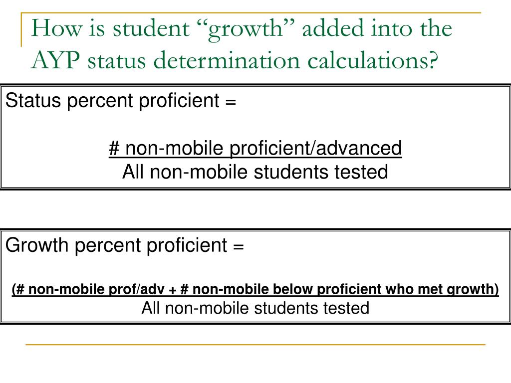 """How is student """"growth"""" added into the AYP status determination calculations?"""